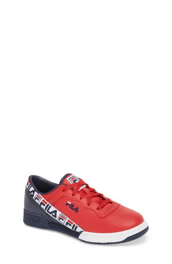 Boys Fila Original Fitness Logo Tape Sneaker Size 6 M  Red