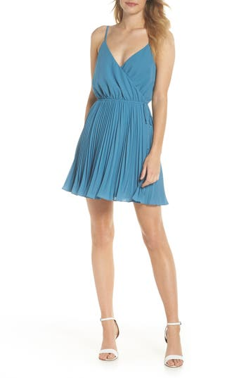 Women's Ali & Jay Lily Pond Faux Wrap Minidress, Size Large - Blue