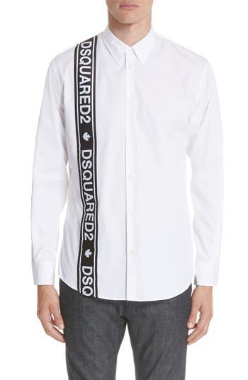 Men's Dsquared2 Logo Trimmed Poplin Shirt