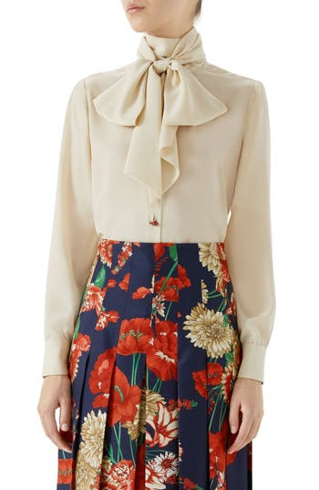 Gucci Silk Crêpe de Chine Bow Blouse