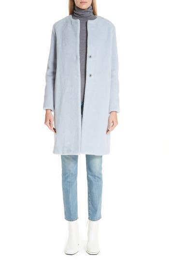 Women's Harris Wharf London Collarless Wool & Alpaca Coat, Size 4 US / 42 IT - Blue