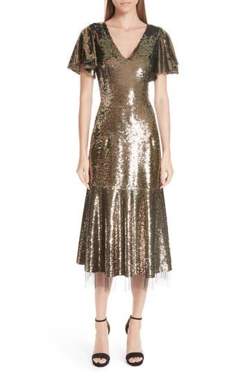 Sachin & Babi Ruffle Trim Sequin Dress