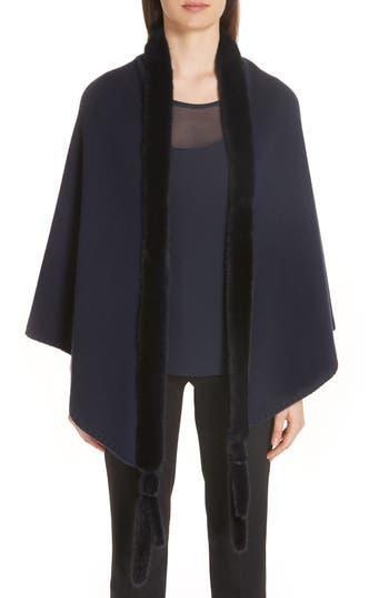 Max Mara Cashmere & Genuine Mink Fur Wrap
