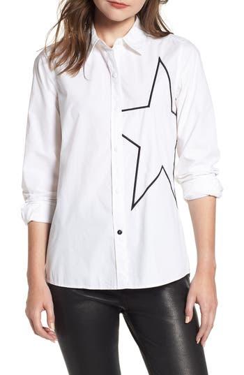 Women's Current/elliott The Elenora Star Embellishment Cotton Blouse, Size 0 - White