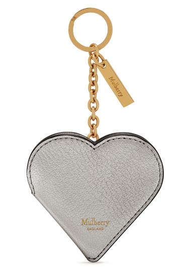Mulberry Heart Locket Leather Key Ring