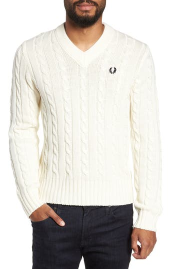Fred Perry Wool Blend Cable Knit Sweater