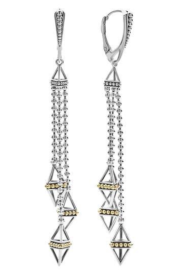 LAGOS Caviar Triangle Pyramid Tassel Earrings