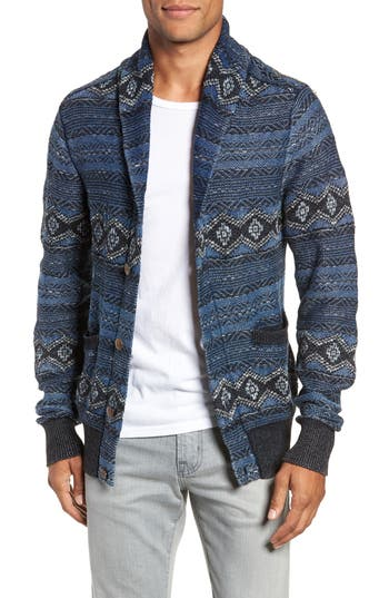 Faherty Indigo Shore Shawl Collar Wool Blend Cardigan