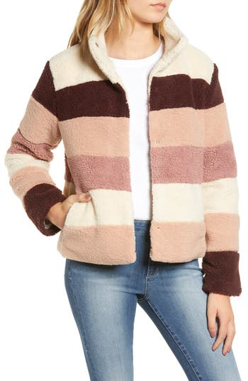 BP. Stripe Faux Shearling Jacket