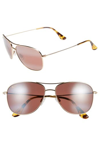 Maui Jim Cliff House 5m Polarizedplus2 Metal Aviator Sunglasses - Gold/ Maui Rose