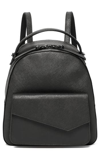 COBBLE HILL CALFSKIN LEATHER BACKPACK - BLACK
