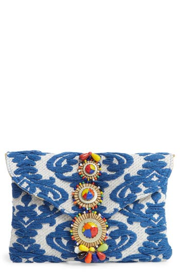 BEADED & EMBROIDERED CLUTCH - BLUE