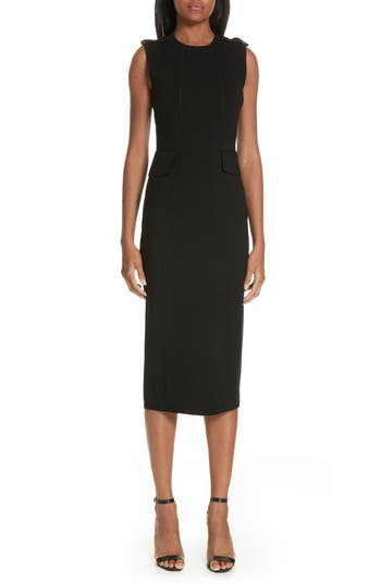 Victoria Beckham Stretch Wool Knit Midi Dress