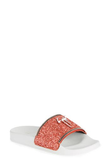 Giuseppe Zanotti Glitter Logo Slide Sandal