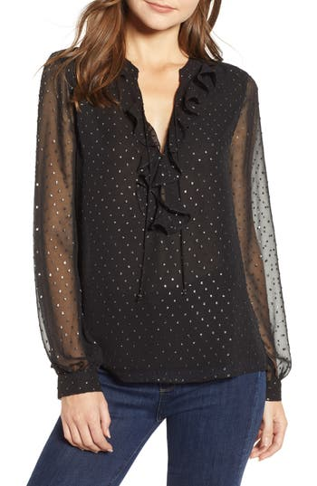 PAIGE Marella Shimmer Dot Blouse