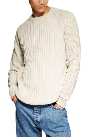 Topman Mixed Stitch Classic Crewneck Sweater