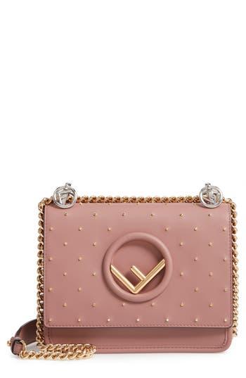 Fendi Small Kan I Logo Studded Leather Shoulder Bag