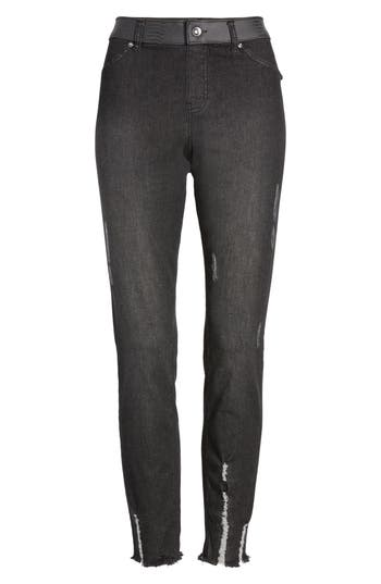 Zeza B by Hue Metallic Waistband Denim Skimmer Leggings
