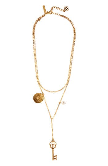 Oscar de la Renta Charm Key Layered Y-Necklace