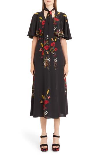 Valentino Floral Meadow Print Crêpe de Chine Faux Wrap Dress