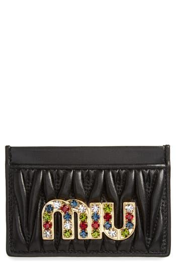 Miu Miu Embellished Matelassé Leather Card Case