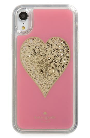 kate spade new york liquid glitter heart iPhone X/Xs/XR & Xs Max case