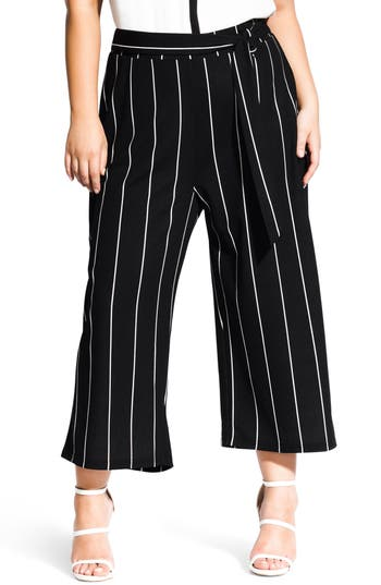 City Chic Elegant Stripe Culottes