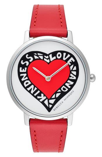 Rebecca Minkoff Major Heart Leather Strap Watch, 35mm
