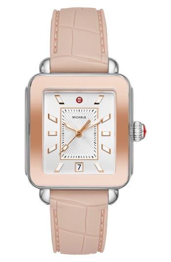 MICHELE Deco Sport Watch Head & Silicone Strap Watch, 34mm x 36mm