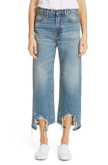 R13 Camille Chewed Hem Wide Leg Jeans