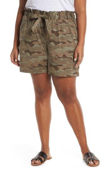 Caslon® Camo Paperbag Waist Shorts