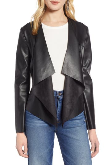 Halogen® Drape Faux Leather Jacket