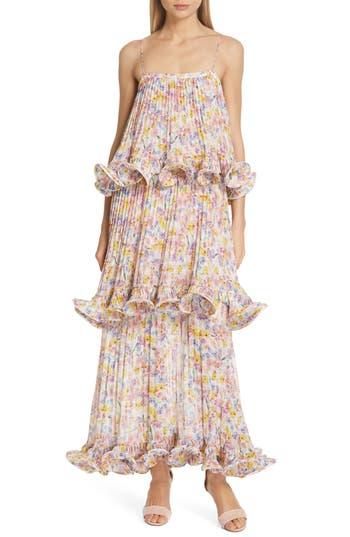 AMUR Dewy Floral Print Tiered Evening Dress
