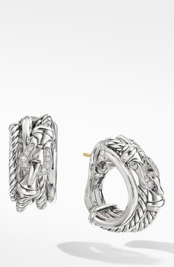 David Yurman Buckle Crossover Earrings with Diamonds