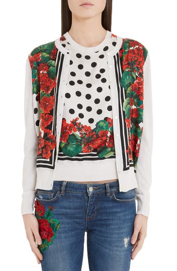 Dolce&Gabbana Geranium & Polka Dot Wool Cardigan