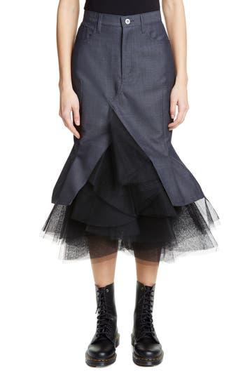 Junya Watanabe Tulle Hem Wool Blend Twill Midi Skirt
