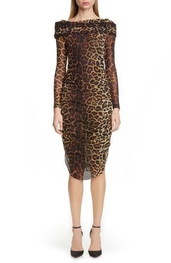 Christian Siriano Leopard Print Long Sleeve Cocktail Dress