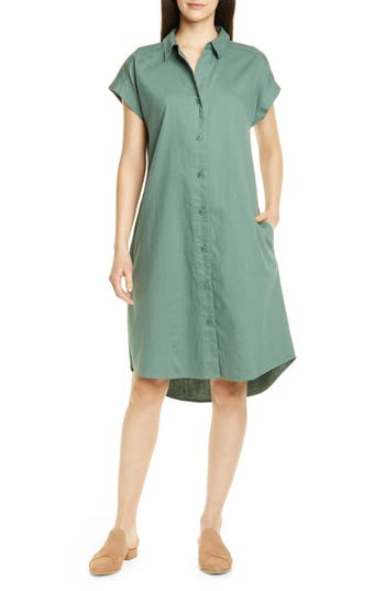 Eileen Fisher High/Low Organic Cotton Shirtdress (Regular & Petite)