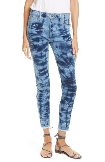 FRAME Tie Dye High Waist Raw Hem Ankle Skinny Jeans (Gaze)