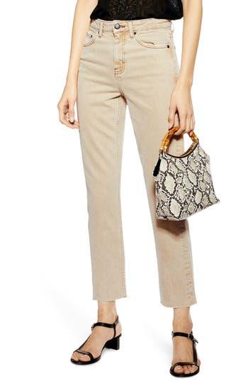 Topshop High Waist Straight Leg Crop Jeans (Stone)