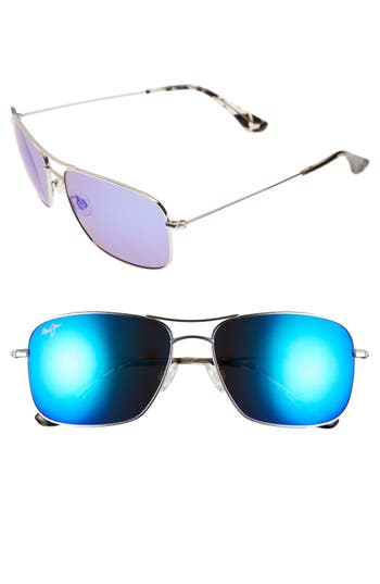 Maui Jim Wiki Wiki 5m Polarizedplus2 Aviator Sunglasses - Silver/ Blue Hawaii