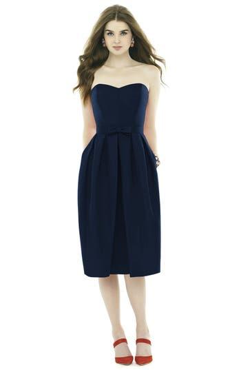 Alfred Sung Strapless Peau De Soie Midi Dress With Bow Belt, Blue