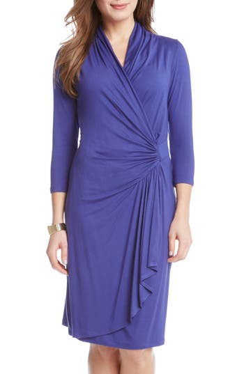 Karen Kane Cascade Faux Wrap Dress, Blue