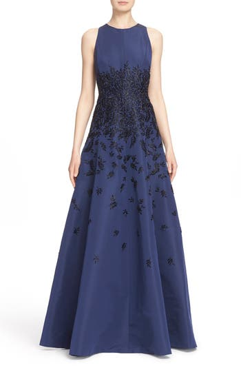 Carmen Marc Valvo Couture Beaded Silk Faille Fit & Flare Gown