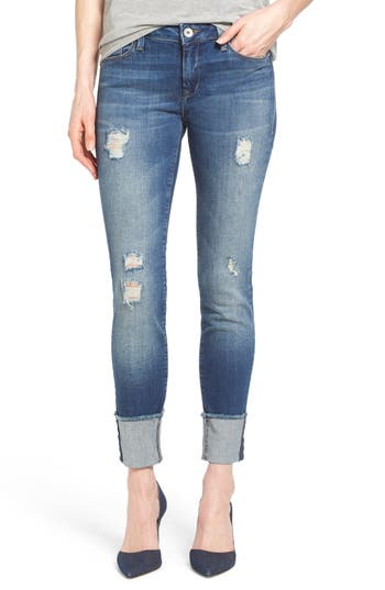 'Erica' Ripped Cuffed Ankle Jeans