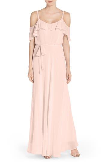 Nouvelle Amsale Cold Shoulder A-Line Chiffon Gown