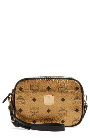 Mcm 'Heritage - Visetos' Metallic Coated Canvas Crossbody Bag -