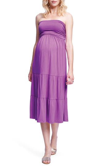 Maternal America Convertible Strapless Maternity Dress, Purple