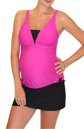 Mermaid Maternity Tankini Top, Red
