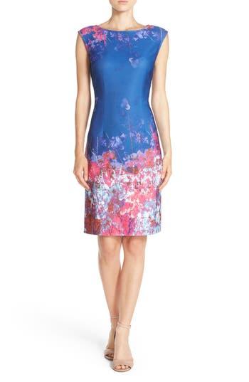 Adrianna Papell Floral Border Print Scuba Sheath Dress, Blue